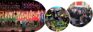 Children singing and playing instruments